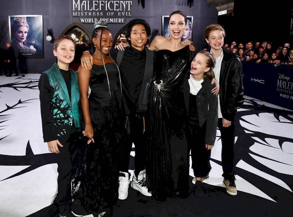 Angelina Jolie and her children