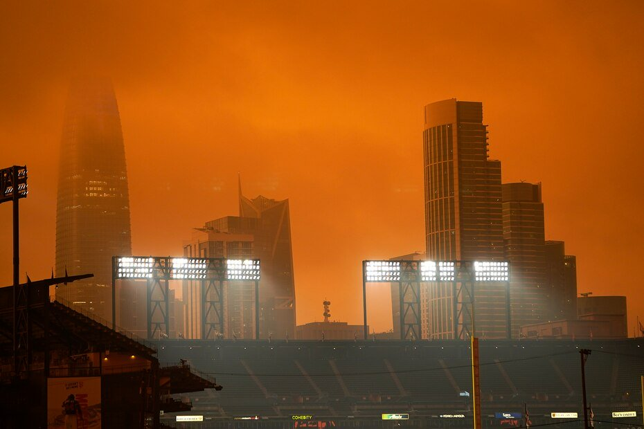 The horizon in the distance behind Oracle Park was partially visible in the smoke from the wildfires.
