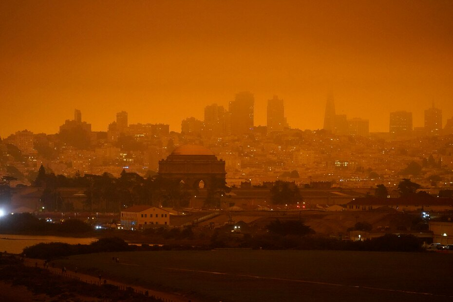 The skyline last night behind the old Crissy Field airfield in San Francisco.