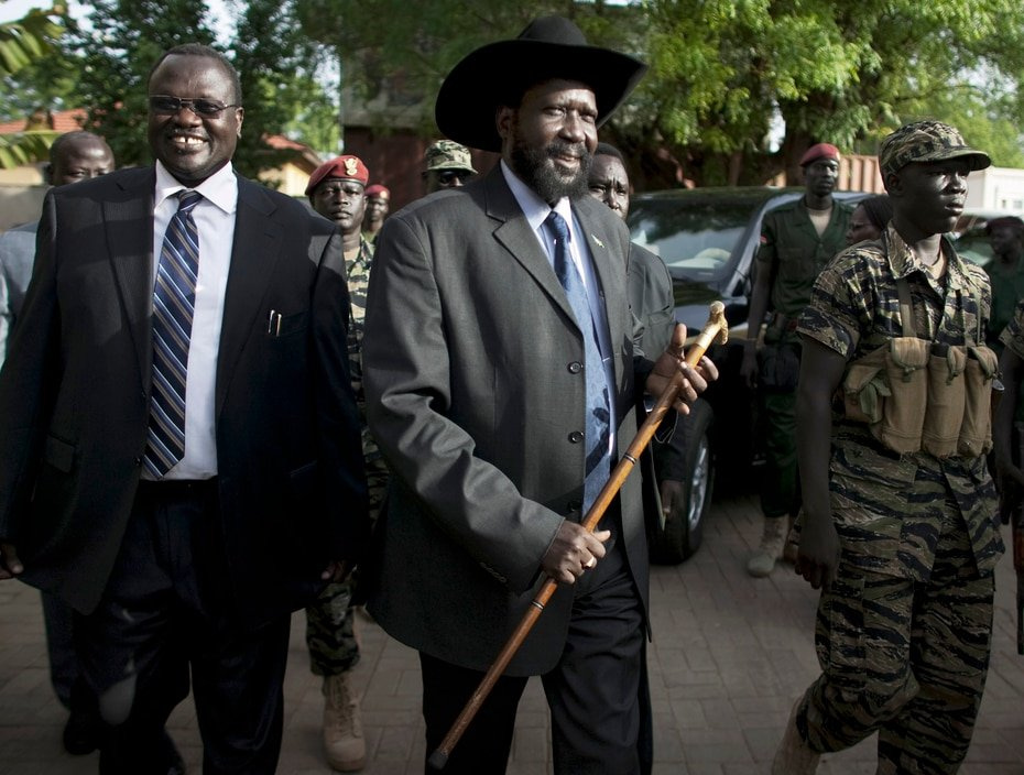 South Sudan - Riek Machar: The vice president (first from left to right) was one of several members of the government who contracted the disease.