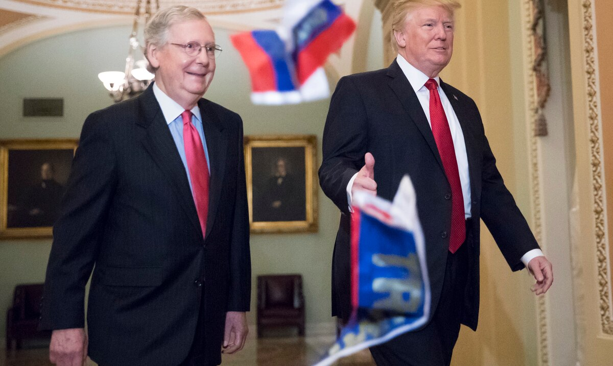 Donald Trump and Mitch McConnell measure themselves to show their influence on the Republican Party