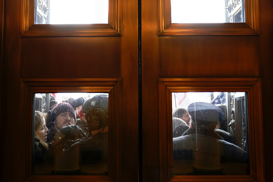 The Capitol Police tried to stop the protesters from entering.