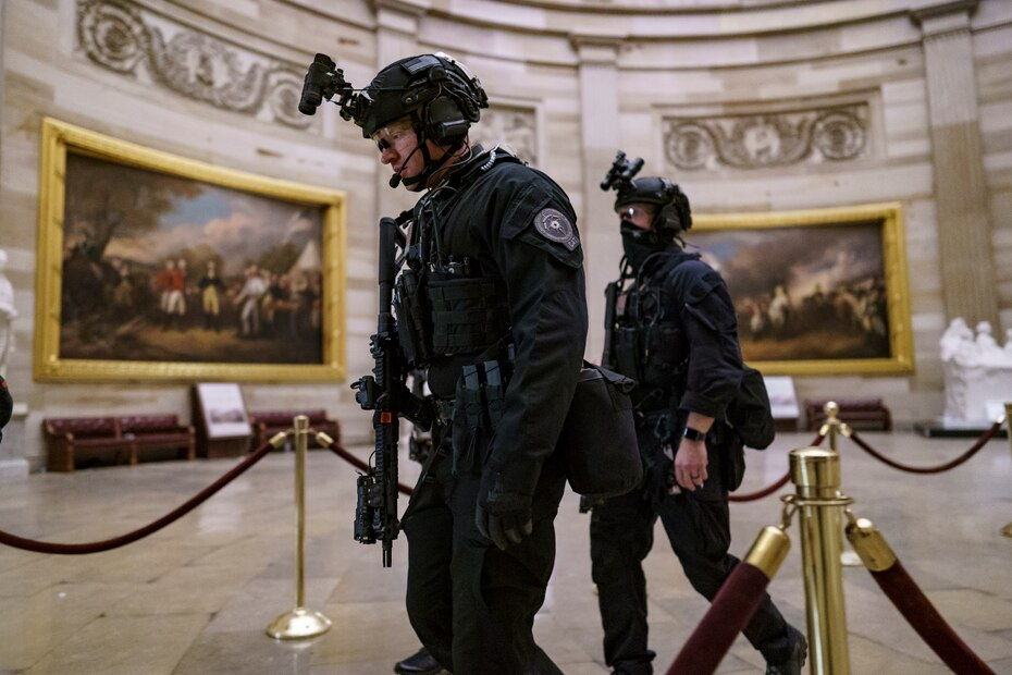 Agents from the Secret Service assault team were inspecting the capitol rotunda once they and other law enforcement units controlled violent protesters loyal to President Donald Trump who stormed the Capitol until late Wednesday night.