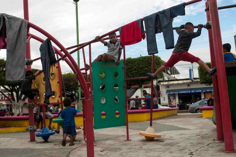 The children take a break in a park in Ciudad Hidalgo, Mexico.