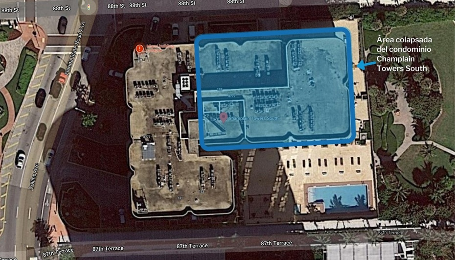 Google Maps screenshot of the Champlain Towers condominium, in Surfside Miami.  The framed area is the one that collapsed in the early morning of June 24.