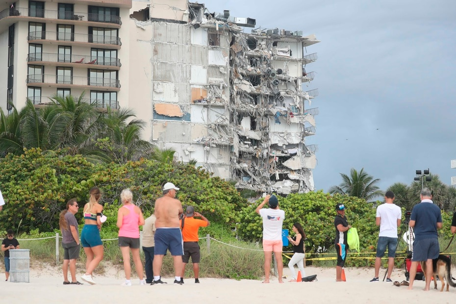 The building is located in front of the ocean in Surfside, a town near Miami Beach.